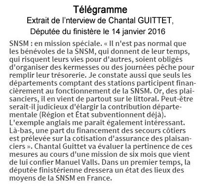 Extrait de l'interview du 14 janvier 2016 de Chantal Guittet, députée du Finistère sur les bénévoles de la SNSM