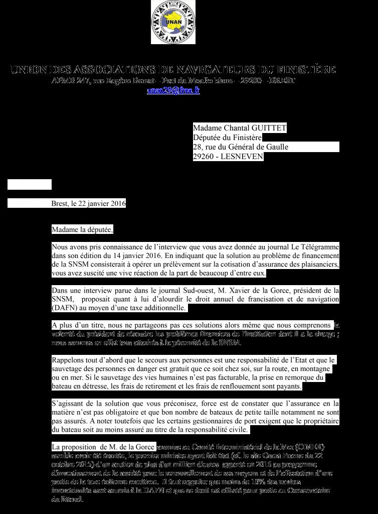 Lettre du 22 janvier 2016 de l'UNAN 29 à Chantal GUITTET, députée du Finistère Page 1