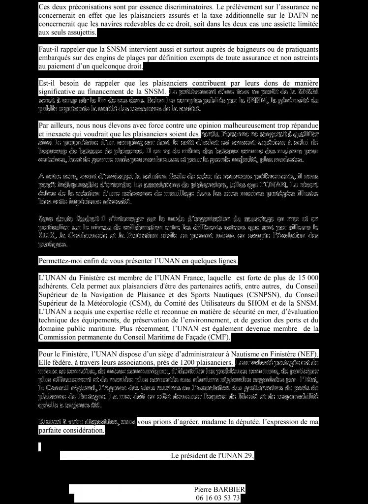 Lettre du 22 janvier 2016 de l'UNAN 29 à Chantal GUITTET, députée du Finistère Page 2