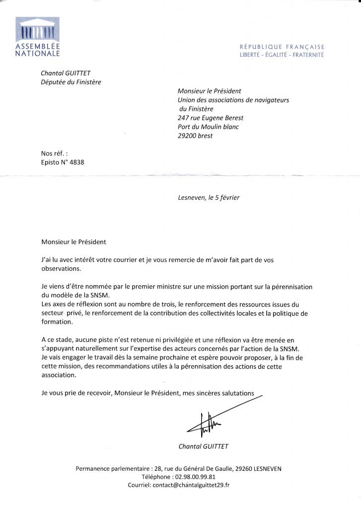 Réponse de Chantal GUITTET, députée du Finistère, à l'UNAN 29 du 5 février 2016
