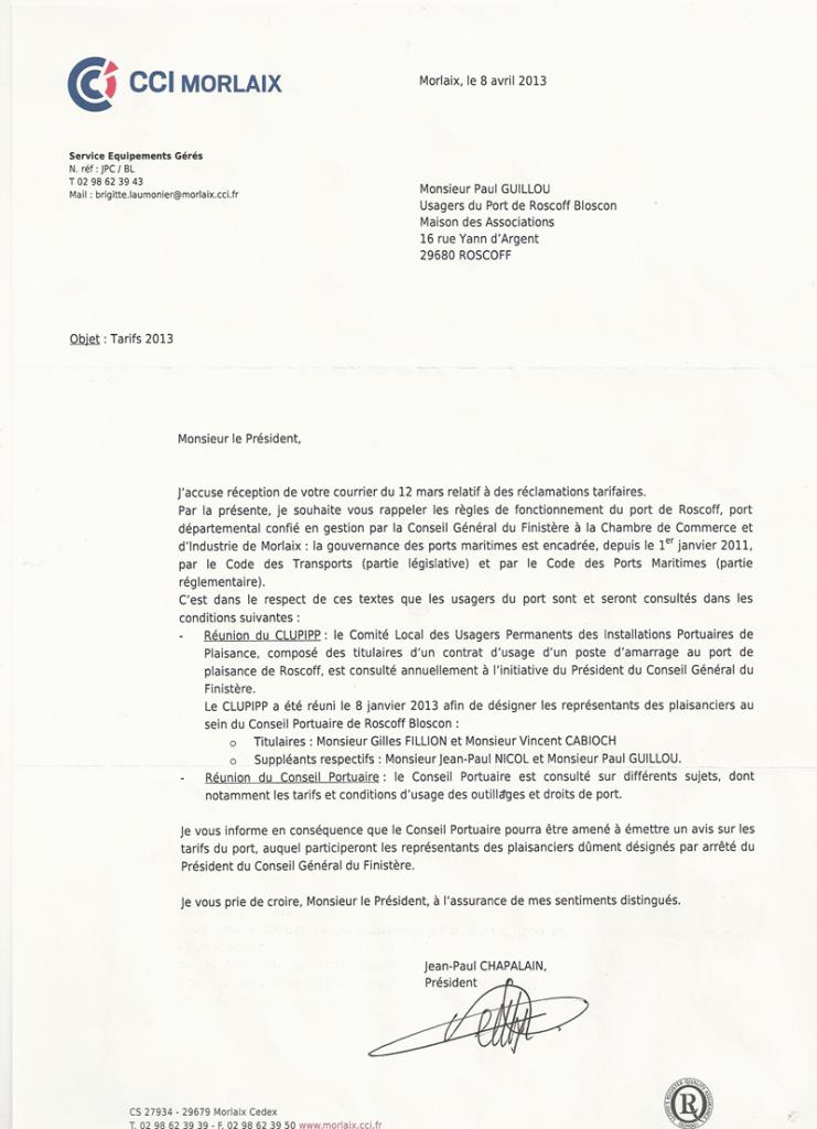 Réponse du Président de la CCI de Morlaix sur les tarifs 2013 de place de ponton du port de Rosoff-Bloscon